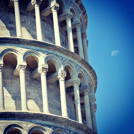 #detail #leaningtower #minimalist #moon #PisaItalia #tower #photography Architectural Column Architecture Building Exterior Built Structure Day Low Angle View No People Outdoors Place Of Worship Religion Sky Spirituality