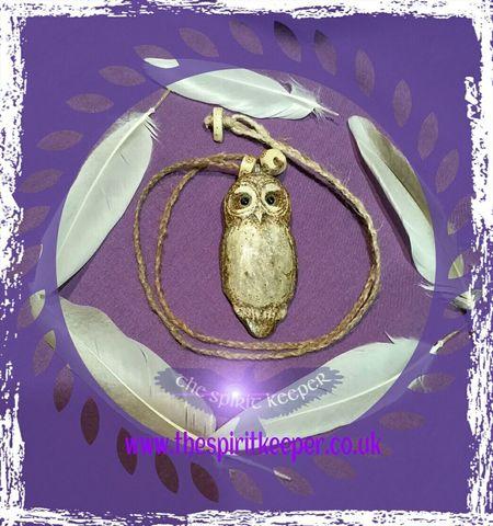 Tawny owl antler pendant Thespiritkeeper Samansoul Owl Deer Antler Shamanism Wildlife & Nature Northwales WoodLand Sold