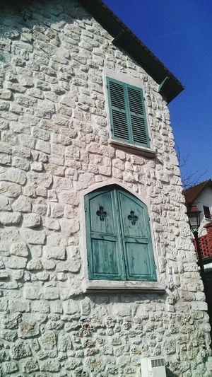 Just a Pretty Blue Window in Villennes. Stone Bricks Rock!