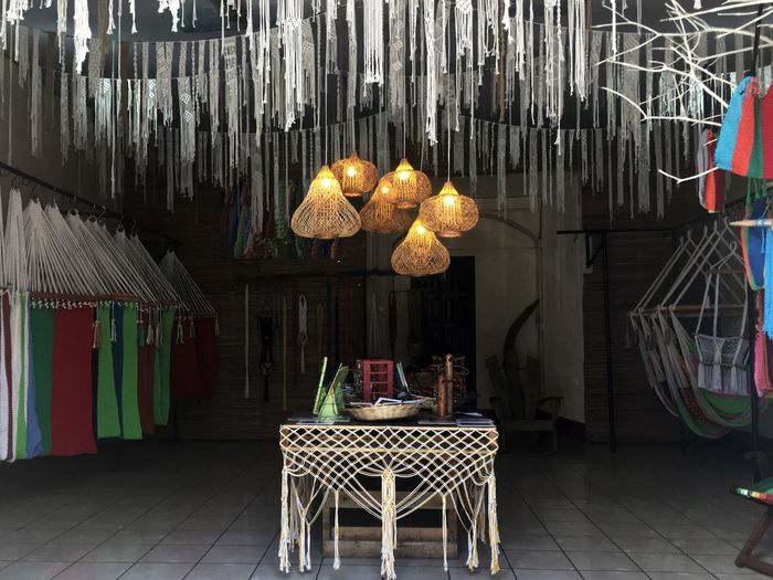 Handmade Hanging Decoration Lighting Equipment Chair Electric Lamp Table Illuminated No People Light Bulb Indoors  Day Lantern