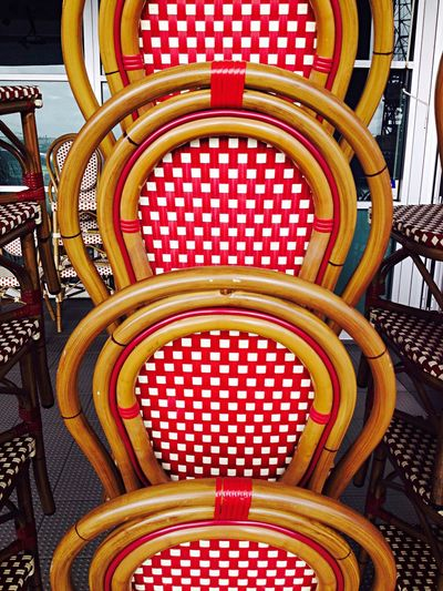 Chairs Chequered Pattern Red And White Repetition Stacked Chairs