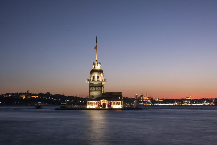 Maidens Tower of Istanbul Architecture City Istanbul Nature Sunlight Turkey Twilight Bosphorus Evening Kız Kulesi Long Exposure Maidens Maidenstower Sea Sea And Sky Sky Sun Sunset Tower