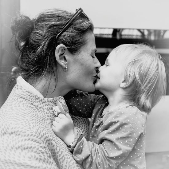 My Loves❤ Mother & Daughter Kiss B&w