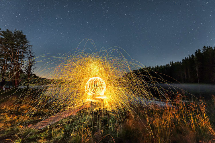 Lighting games and handmade fireworks under stars in Rodopi Mountain, Bulgaria Night Motion Nature Sky Spinning Glowing Field Outdoors Illuminated Light Painting Circle Long Exposure Sparks Plant Astronomy Land Light Trail Wire Wool No People Geometric Shape Blurred Motion Star - Space