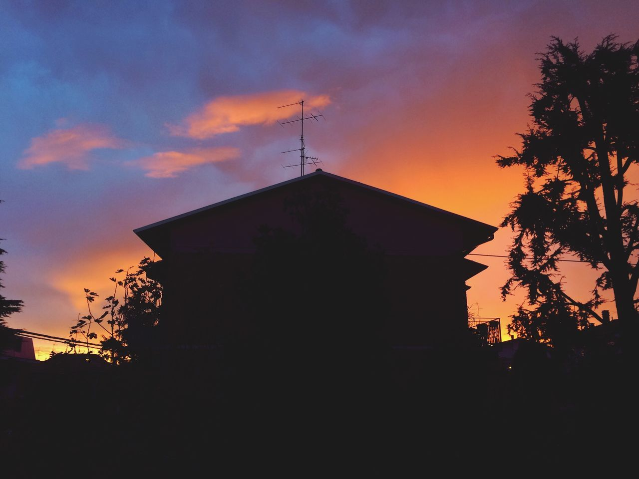 silhouette, sunset, sky, built structure, architecture, low angle view, no people, tree, cloud - sky, outdoors, nature, building exterior, beauty in nature, day