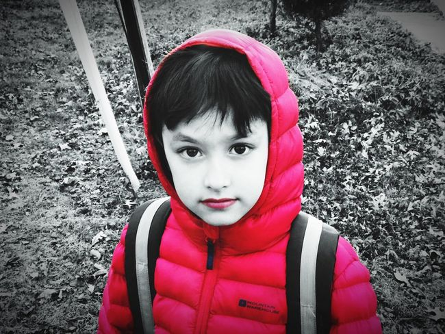 Little red riding hood Red Child Portrait Childhood Looking At Camera Real People Winter One Person