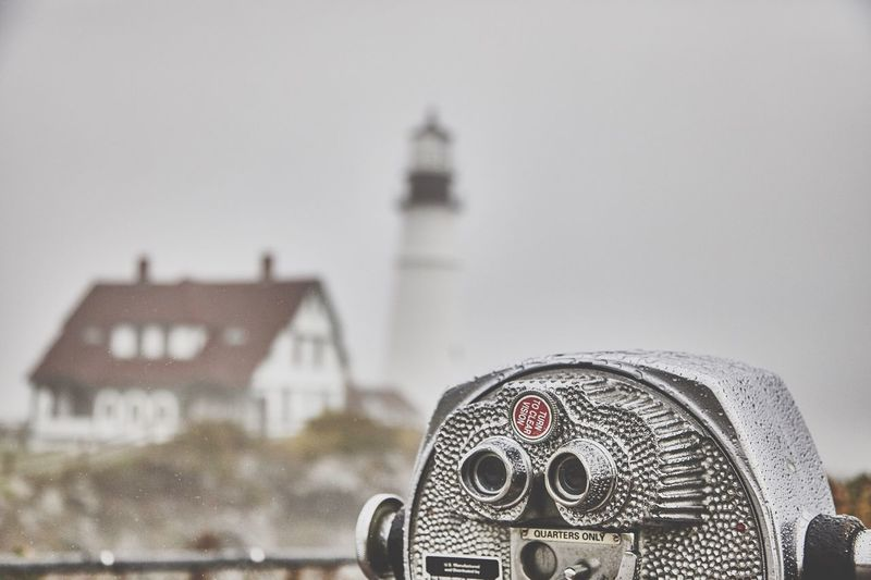 LOOKS LIKE AUTUMN. Focus On Foreground Coin-operated Binoculars Architecture No People Fall Lighthouse Maine ClayHaynerPhoto Traveling Photo Of The Day Travelphotography Travel Destinations Fog Foggy Morning Landscape Travel Tourism Photooftheday Portland Autumn Autumn Colors Travel Photography Travelgram Art Outdoors