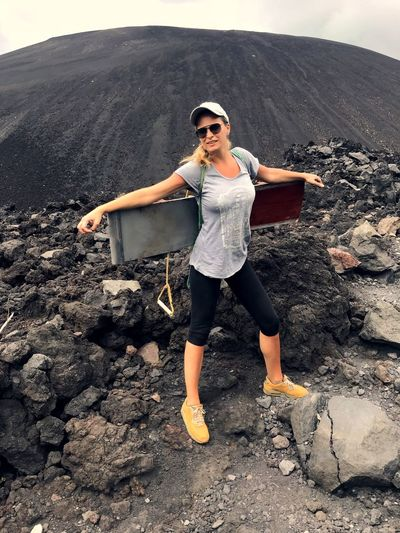 Adventure Rock - Object Landscape Standing Hikingadventures Hiking Women Energetic Determination Lava Field Volcanic Rock Volcanic Landscape Nicaragua Cerro Negro Volcanic Crater Scenics Exploration Adrenaline Junkie VolcanoBoarding Extreme Sports Full Length