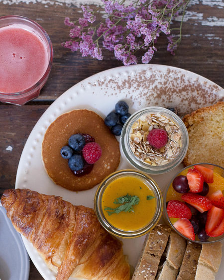 Food And Drink Fruit Freshness Food Healthy Eating Bowl Raspberry Directly Above Table High Angle View Breakfast Ready-to-eat Plate Blueberry No People Healthy Lifestyle Indulgence Sweet Food Indoors  Yogurt Brunch Breakfast Croissant Variation Coffee Break