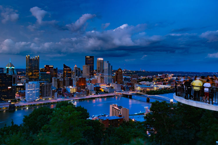 Magnificent blue hour of Pittsburgh downtown Architecture Building Building Exterior Built Structure City Cityscape Cloud - Sky Downtown Pittsburgh High Angle View Illuminated Modern Nature No People Office Building Exterior Outdoors Overlooking View Plant Residential District Sky Skyscraper Travel Destinations Tree Urban Skyline