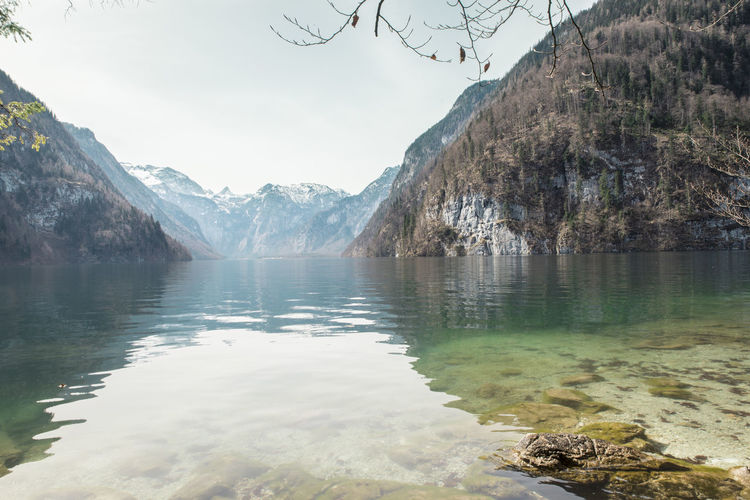 Berchtesgaden Bgl Clear Water Crystal Clear Green Water Idyllic Königssee Lake Lake View Mountains Nature Reflections See Through Snow Water Winter