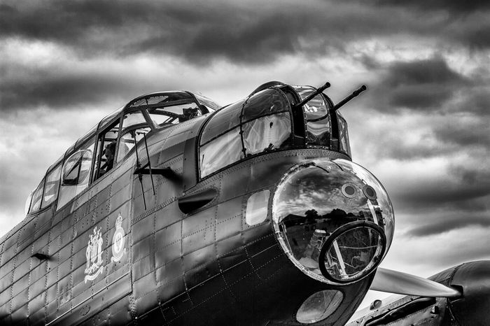 Close-up Cloud - Sky Day Lancaster Bomber Low Angle View Mode Of Transport Nature No People Old-fashioned Outdoors Sky Transportation