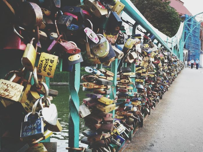 any keys? Bridge Wroslaw Poland Love Lock Hanging Bridge - Man Made Structure Padlock Lock Love Hope Variation Protection Hope - Concept Chain