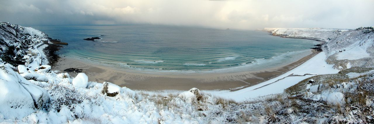 Sennen Cove Cornwall next to Lands End .not often its seen with this much Snow . Cornish Coast great Beach, amazing Walks Along Coast