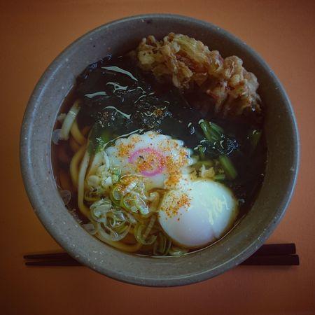 """天玉うどん / Japanese noodle """"Tentama Udon"""" Food Close-up Indoors  No People Noodles Noodle Egg Yolk Egg Tenpura Flitter Healthy Eating てんぷら 天ぷら うどん"""