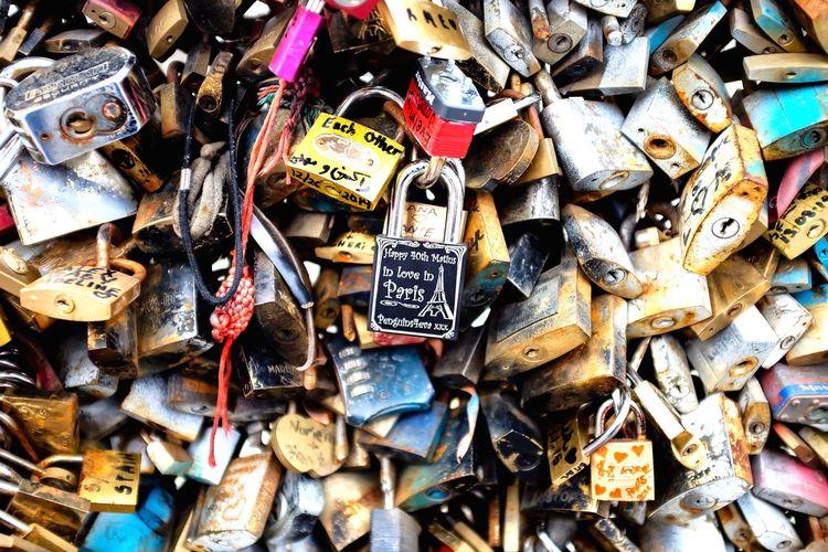 I ❤ Paris Paris Paris ❤ Abundance Large Group Of Objects Padlock Love Lock Metal Love No People