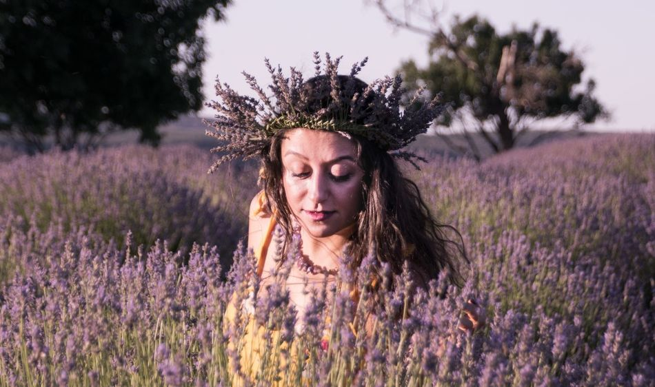 Flower Field Lavender Lavender Colored Purple Nature Plant One Person Outdoors Young Adult Beauty In Nature Young Women Beauty Agriculture Real People Curly Hair Beautiful Woman Rural Scene Lifestyles Connected By Travel