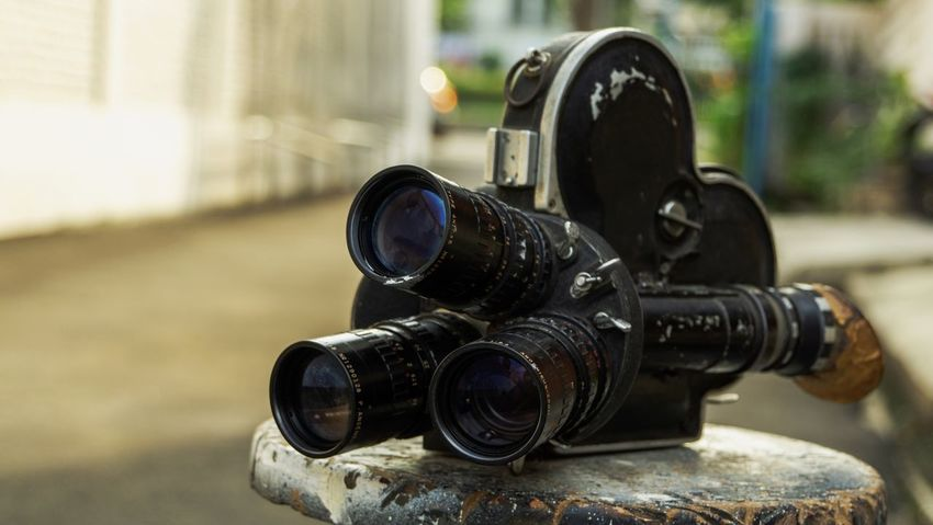 Three Eyed Vintage Movie Camera Antique Celluloid Obsolete Analog Film Video Camera Video Movie Production MOVIE Old Vintage Triple Lens - Optical Instrument Close-up Technology No People Camera Still Life Equipment Outdoors The Still Life Photographer - 2018 EyeEm Awards