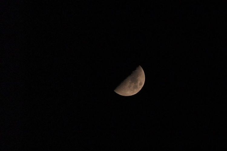 Astronomy Beauty In Nature Clear Sky Copy Space Crescent Half Moon Low Angle View Moon Moon Surface Nature Night No People Outdoors Planetary Moon Scenics Sky Space Space Exploration Tranquil Scene Tranquility