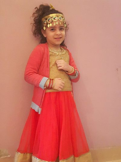 Kenzy💘 👞👡👠👢👕👔👗👘👙🎀🎩👑👒💼💼👜💄💎 The Best Smile 😊 Indian Style Girls Child One Girl Only Childhood Colored Background Cute Children Only