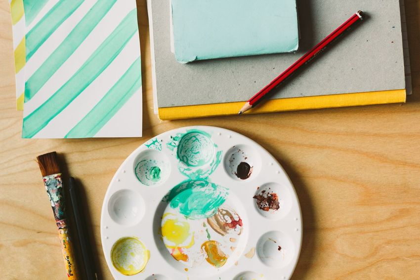 Handmade For You Crafts View From Above Table High Angle View Palette Brush Pencil Paper Turqoise DIY Work Workstation Yellow
