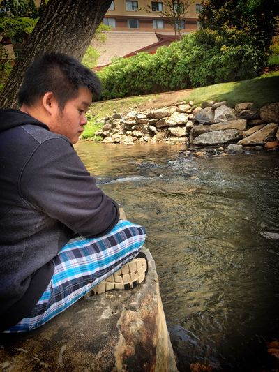 iPhone 6 Nature Portrait River Water Peaceful Peace Water Little Boy Wondering