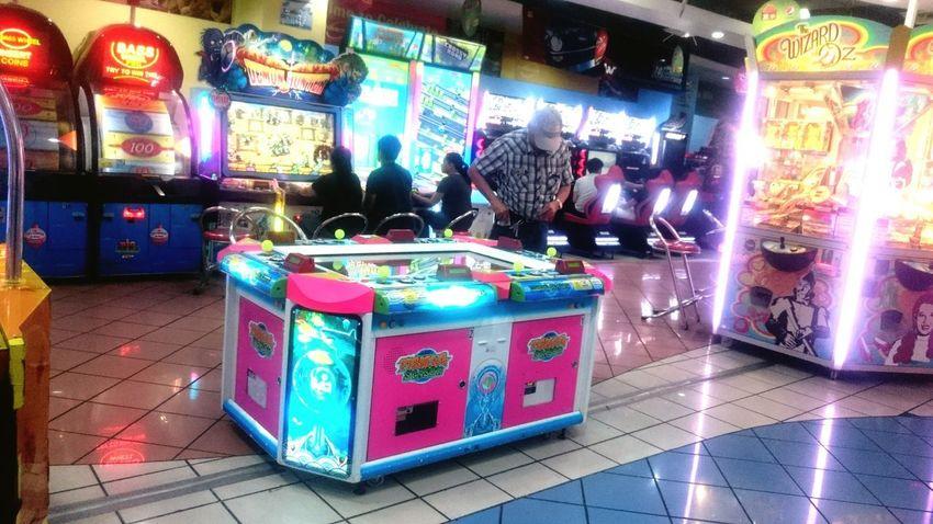 Multi Colored Night Illuminated Neon Technology People Arcade Arcade Machine Arcade