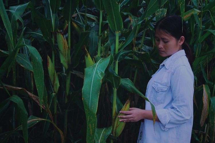 Side view of young woman standing by crops in farm