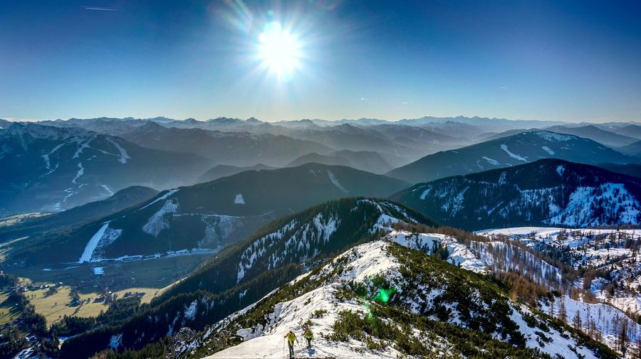 Beauty In Nature Cold Temperature Day Landscape Lens Flare Mountain Mountain Range Nature No People Outdoors Scenics Sky Snow Sun Sunbeam Sunlight Tranquil Scene Tranquility Winter