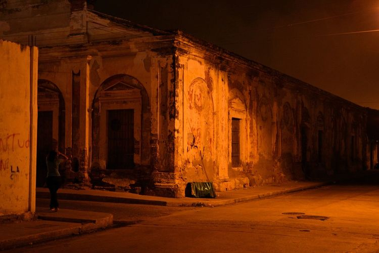 View of abandoned building at night