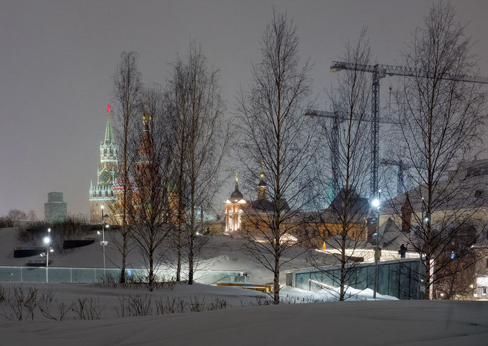 Russia, Moscow, the Kremlin, the Nikolskaya street, night, snow, Vasilevsky descent, the Kremlin's Spassky tower, St. Basil's Cathedral, Monument to Minin and Pozharsky on red square, Manezhnaya square, Ulitsa Varvarka, Zaryadye Park , winter, travel, architecture Moscow Russia St. Basil's Cathedral Vasilevsky Descent Architecture Bare Tree Beauty In Nature Branch Building Exterior Built Structure City Cold Temperature Illuminated Nature Night No People Outdoors Sky Snow Snowing The Kremlin The Kremlin, Tree Weather Winter