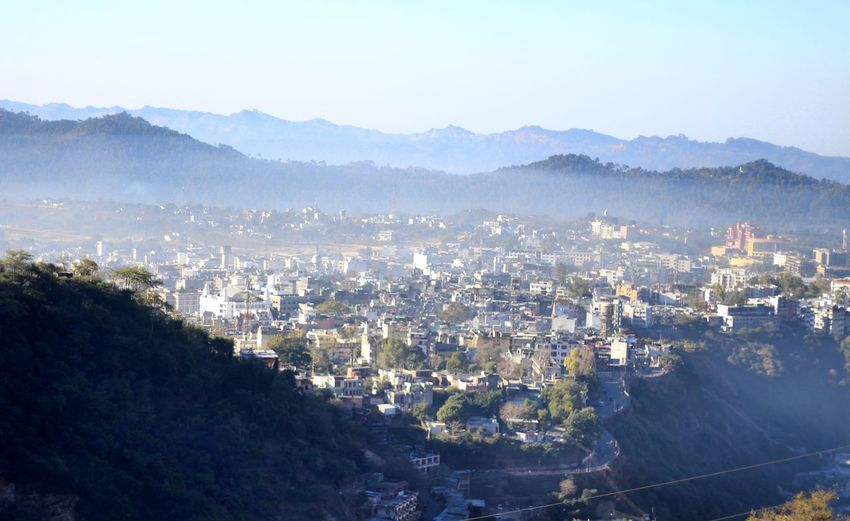 city view- top of the hill Shades Of Winter Cityscape City Aerial View High Angle View Residential Building Outdoors Mountain No People Architecture Tree Day Urban Skyline Building Exterior Winter Sky Jammu Jammu And Kashmir Katra India Incredible India
