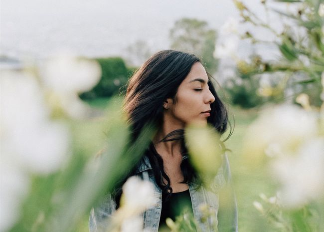 Fresh Young Adult One Person Long Hair Young Women Outdoors Black Hair Beautiful Woman Real People Leisure Activity Beauty Day Nature Lifestyles Standing Tree Side View Women One Young Woman Only Beauty In Nature Flower EyeEmNewHere
