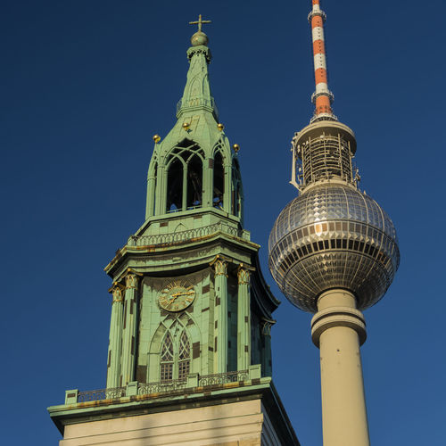 Architecture Berlin Berlin Mitte Blauer Himmel Blue Blue Sky Building Exterior Built Structure Clear Sky Day Dome Fernsehturm Fernsehturm Berlin  Low Angle View Marienkirche Marienkirche Berlin-mitte Matching Form Outdoors Place Of Worship Religion Spirituality Tall - High Telespargel Tower Travel Destinations