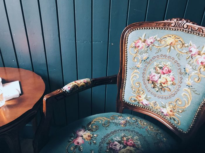 High angle view of empty patterned chair