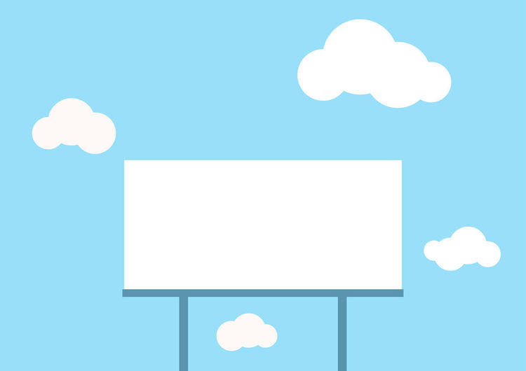 A blank billboard, ready for text, with cloud on blue background illustration Blank Design, Graphic Image Text Abstra Ct Backdrop Background Banner Billboard Blue Cartoon Communication Concept, Copy Space Element, Frame Illustration Note Presentation Sky Space Space Exploration Template Wallpaper Web