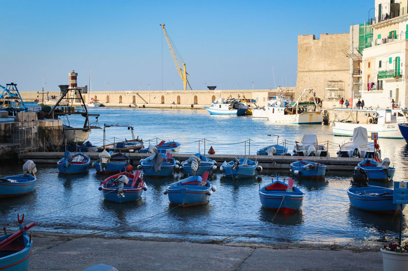 Puglia Architecture Building Exterior City Clear Sky Construction Equipment Day Fishing Boat Fishing Industry Harbor Italy Machinery Moored Nature Nautical Vessel No People Outdoors Pier Port Sailboat Sea Sky Transportation Travel Water