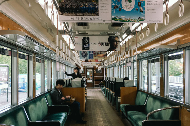 Arashiyama, Kyoto, 2016 Arashiyama Day Indoors  Japan Kyoto Public Transportation Real People Sitting Tourism Tourist Attraction  Train - Vehicle Transportation Vehicle Seat