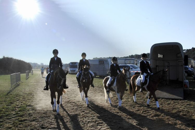 Blue Clear Sky Domestic Animals Dressage Competition Dressage Horse Full Length Horse Livestock Mammal Men Mode Of Transport Rear View Riding Road Sky Sun Sunbeam Sunlight Teamwork Transportation Vacations Walking Working Animal