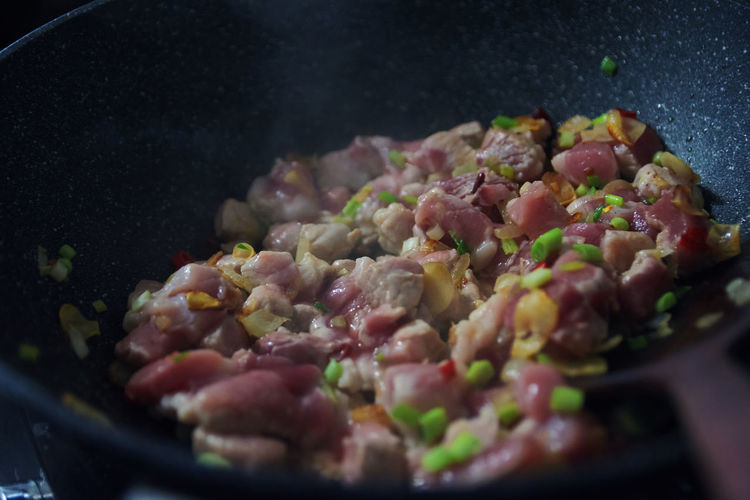 Close-up of chopped vegetables in pan