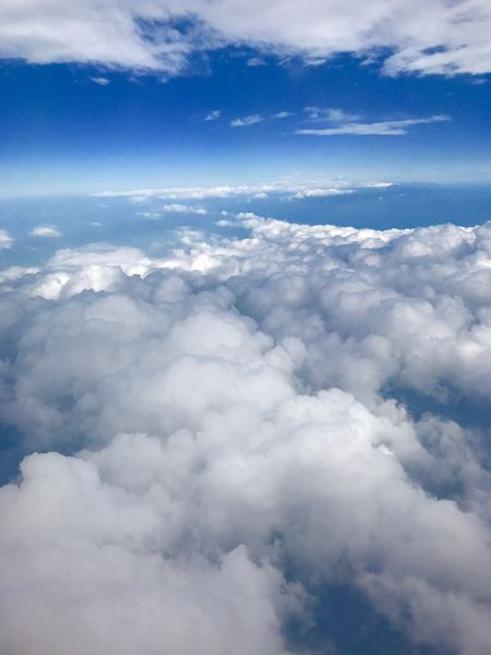 Cloud - Sky Sky Cloudscape Aerial View Blue Tranquility Fluffy No People Airplane Scenics Beauty In Nature Tranquil Scene Airplane Wing The Natural World Photographylovers Eye4photography  EyeEm Best Shots Morning Morning Light Cotton Cotton Candy Sky Cottoncandyclouds Travel Travel Destinations Travelphotography The Great Outdoors - 2017 EyeEm Awards