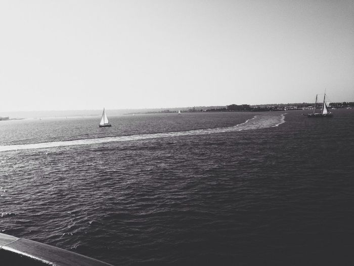 Sailboat From The Deck Ocean View Blackandwhite