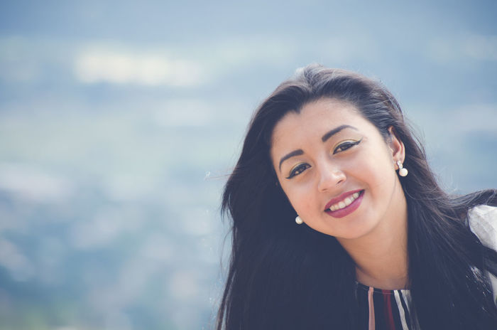 Beauty Cheerful Day Focus On Foreground Front View Happiness Latina Long Hair Looking At Camera Person Portrait Smiling Smille Young Adult Young Women