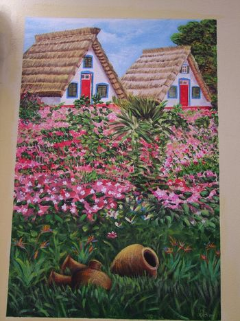 Wall Mural, Old Funchal ArtWork Composition Creativity Flowering Shrubs Funchal Madeira Madeira Island Painting Artwork Portugal Scenic Tourist Attraction  Wall Mural Full Frame Multi Coloured Mural Mural Art No People Old City Outdoor Photography Painting Picture Traditional Houses Travel Destination Two Houses