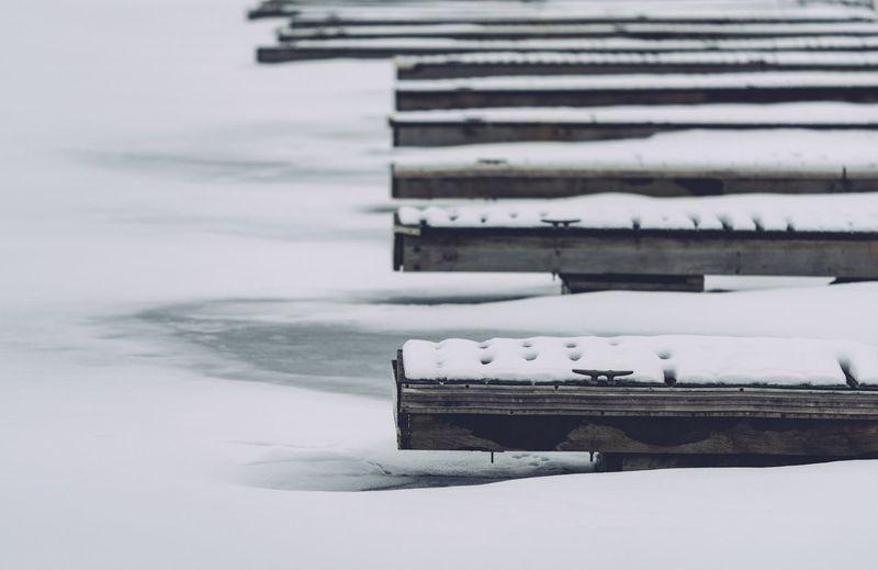 Frozen marina docks