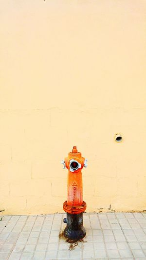 Orange Fire Hydrant By Beige Wall