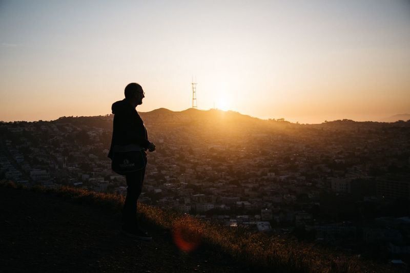 Sunset Sunlight Sun One Person Full Length Silhouette Sky Outdoors Sunbeam Standing Cityscape City Nature Landscape Adults Only Adult Men One Man Only People Beauty In Nature San Francisco