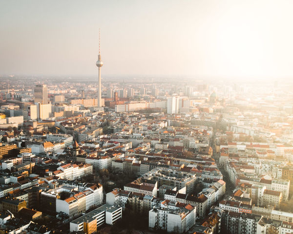 Alexanderplatz DJI X Eyeem From Above  Sightseeing TV Tower Aerial View Architecture Built Structure City City Life Cityscape Day Dronephotography High Angle View Modern Office Building Exterior Skyscraper Sun Sun Flare Sunrise Sunset Tall - High Tower Travel Destinations Warm Light
