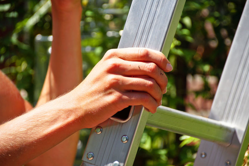 Midsection Of Man Holding Ladder