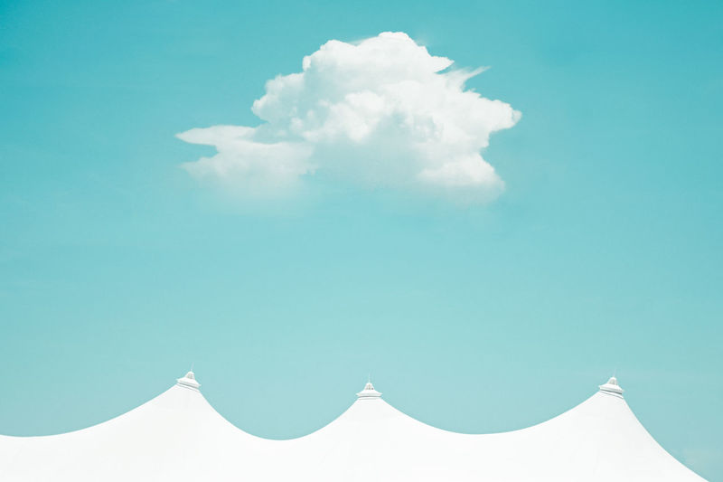 Travel Sky Cloud - Sky Blue Nature Architecture Day Built Structure No People Beauty In Nature White Color Building Exterior Sunlight Outdoors Scenics - Nature High Section Low Angle View Travel Destinations Wall - Building Feature Idyllic Turquoise Colored Minimalist Teflon Tent